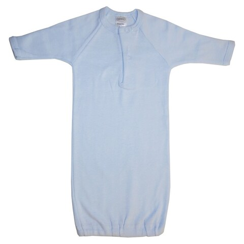 Bambini Baby Boys Blue Solid Color Rib Knit Cotton Mitten Cuff Infant Gown Preemie