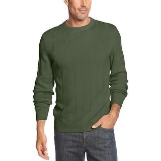 John Ashford Ribbed Crewneck Sweater Kelp Green Cotton Large - L