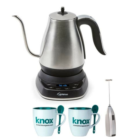 Capresso 29005 Stainless Steel Electric Pour-Over Kettle with Frother and Mugs