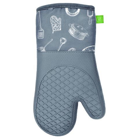 "Oven Mitts Silicone Printed 2PK Grey - 13"" x 7"""