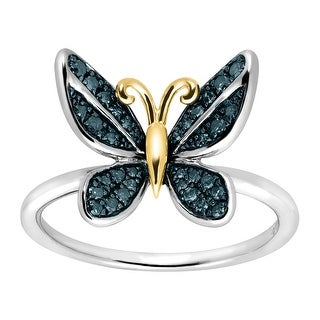 1/5 ct Blue Diamond Butterfly Ring in Sterling Silver & 14K Gold