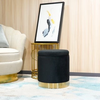 Link to FCH Storage Ottoman Set Round Velvet Footrest Modern Vanity Stool Seat Similar Items in Living Room Furniture