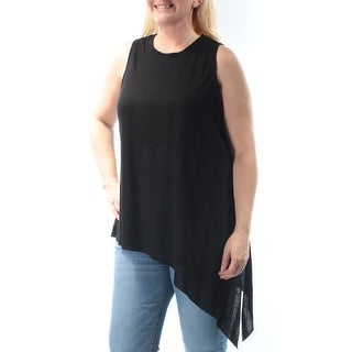 GUESS $39 Womens New 1117 Black Jewel Neck Sleeveless Hi-Lo Casual Sweater L B+B
