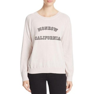 Monrow Womens Sweatshirt Slogal Jeweled Neck