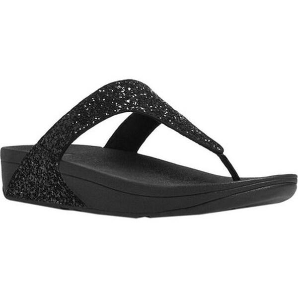 5d305baa5a8c84 FitFlop Women  x27 s Glitterball Wedge Thong Sandal Black Imi-Leather  Glitter