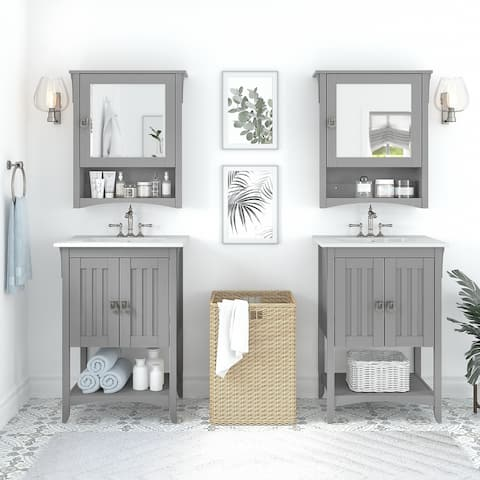Salinas 48W Double Vanity Set with Medicine Cabinets by Bush Furniture