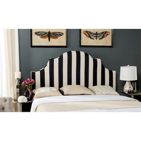 SAFAVIEH Hallmar Black/ White Stripe Upholstered Arched Headboard (Queen)