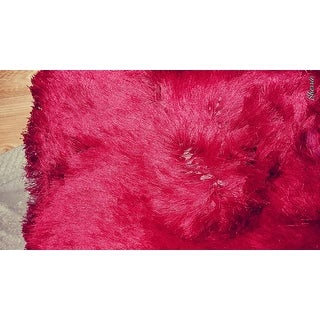"Soft Fluffy Thick Solid Red Non-Skin Shaggy Shag Pile Area Rug Carpet (2'6"" x 7'3"")"
