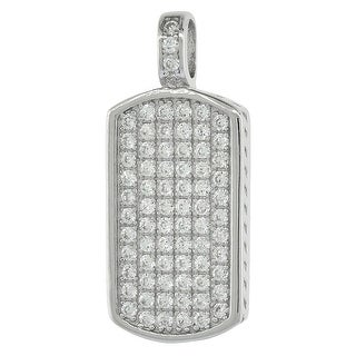 Sterling Silver Cubic Zirconia Dog Tag Pendant Micro Pave 3 4 Inch Long