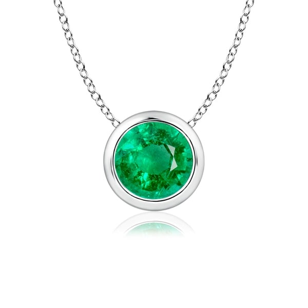 Angara Solitaire Emerald Necklace in Yellow Gold fAGI4