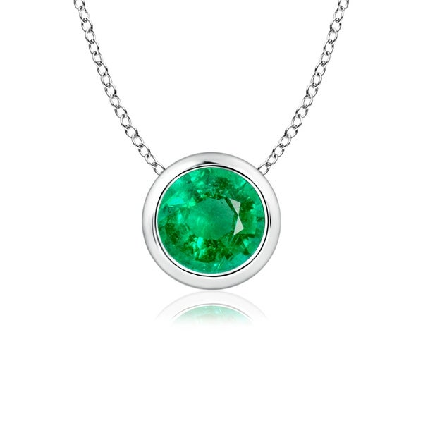 Angara Bezel-Set Emerald Necklace for Women in White Gold XDbXWa6X