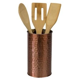 Hammered Steel Utensil Holder, Copper