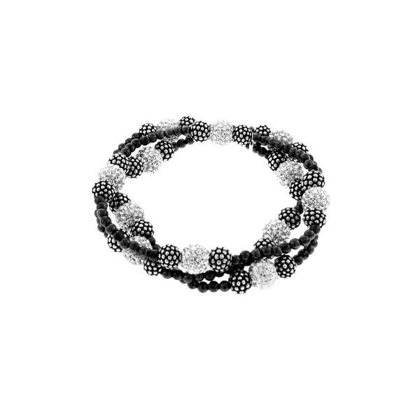 Aya Azrielant Bracelet with Black & Silver Beads & Swarovski Crystals