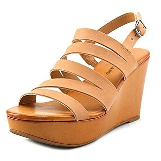Lucky Brand Marinaa Women Open Toe Leather Brown Wedge Sandal