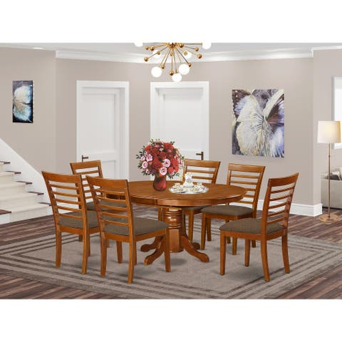 Dining Room Set Includes Oval Dinette Table with Leaf and a Set of Dining Chairs
