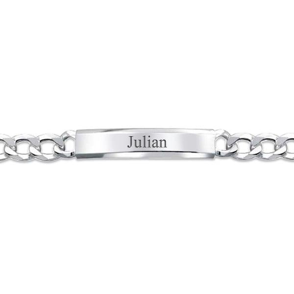 Sterling Silver Engravable 8in Curb Mens ID Bracelet