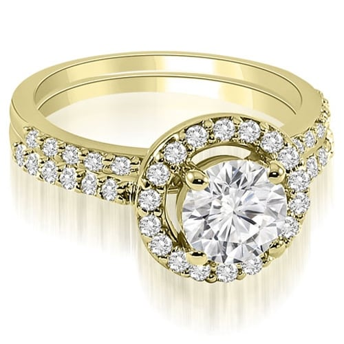 0.86 cttw. 14K Yellow Gold Halo Round Cut Diamond Bridal Set