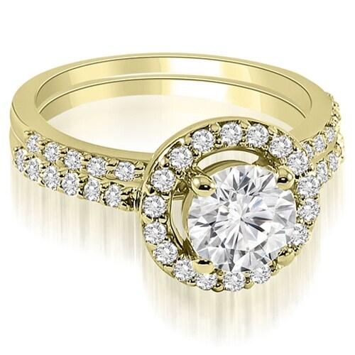 1.11 cttw. 14K Yellow Gold Halo Round Cut Diamond Bridal Set