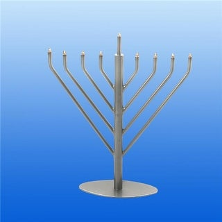 Israel Giftware Electric Pewter Menorah with Clear & Bulbs, Blue