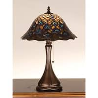 Meyda Tiffany 28568 Stained Glass / Tiffany Accent Table Lamp from the Peacock Feather Collection - tiffany glass - n/a
