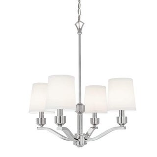 """Norwell Lighting 5614 Roule 4 Light 23"""" Wide Chandelier with White Shade"""