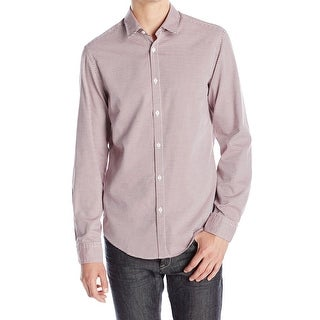 Hugo Boss NEW Red Mens Size Medium M Button Down Seamed Printed Shirt