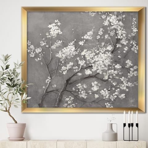 Designart 'White Cherry Blossoms I' Traditional Framed Art Print