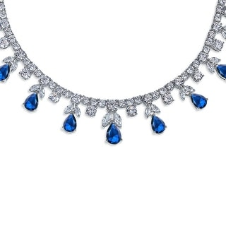 Link to Blue CZ Multi Teardrop Imitation Sapphire Statement Necklace Silver Similar Items in Necklaces