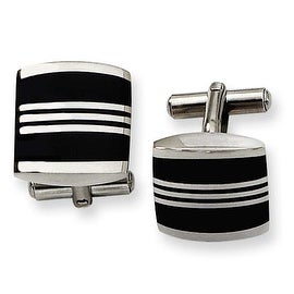 Chisel Black Enamel Polished Stainless Steel Cuff Links