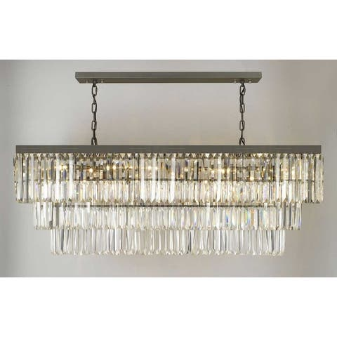 Retro Palladium Glass Fringe Rectangular Chandelier Lighting
