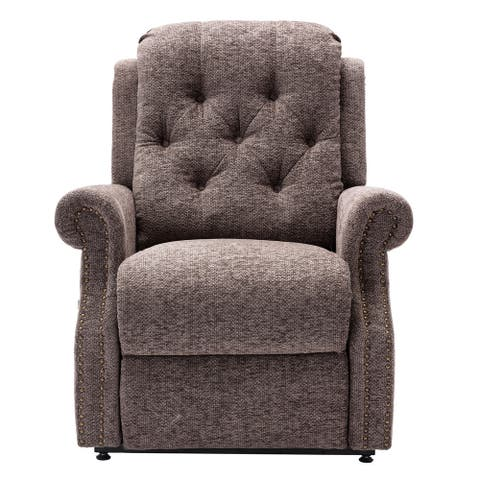 Chenille Knit Fabric Power-lift Recliner with 8-Point Massage