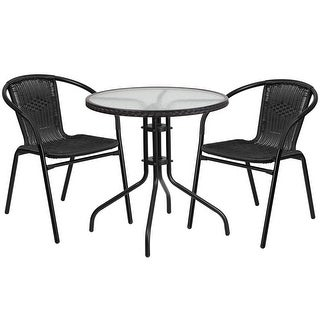 Skovde 3pcs Round 28'' Glass Metal Table w/2 Black Rattan Stack Chairs