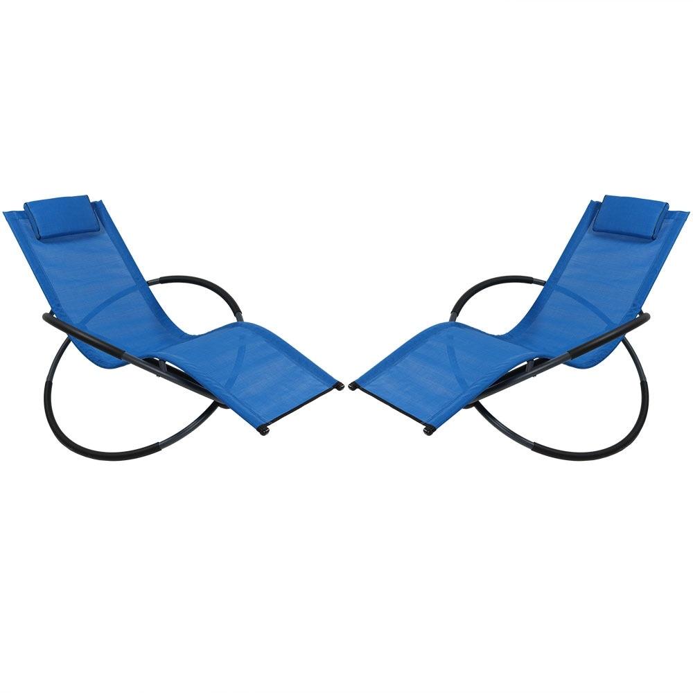 Sunnydaze Orbital Folding Zero Gravity Rocking Lounger w/ Pillow - Multiple Colors Available - Thumbnail 8