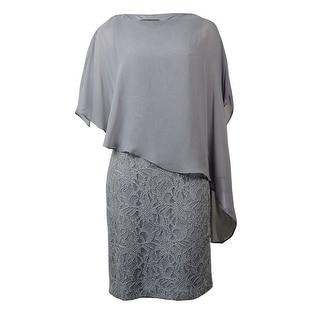 Jessica Howard Women's  Glitter Lace Dress - Silver