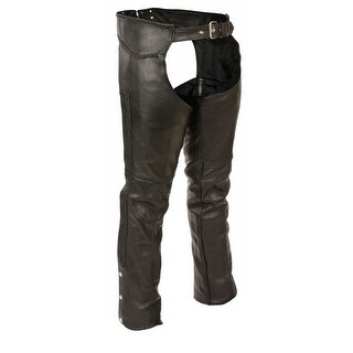 Mens Classic Leather Chaps with Braiding