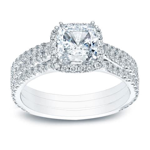Auriya 2 2/5ctw Cushion-cut Halo Diamond Engagement Ring 3pc Set 14k Gold