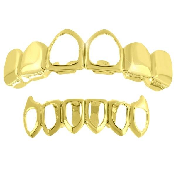 Gold Finish 2 Grillz Set Top Bottom Set Teeth