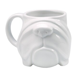 Sculpted Coffee Mug - Bulldog Face - Stoneware 14 oz. White