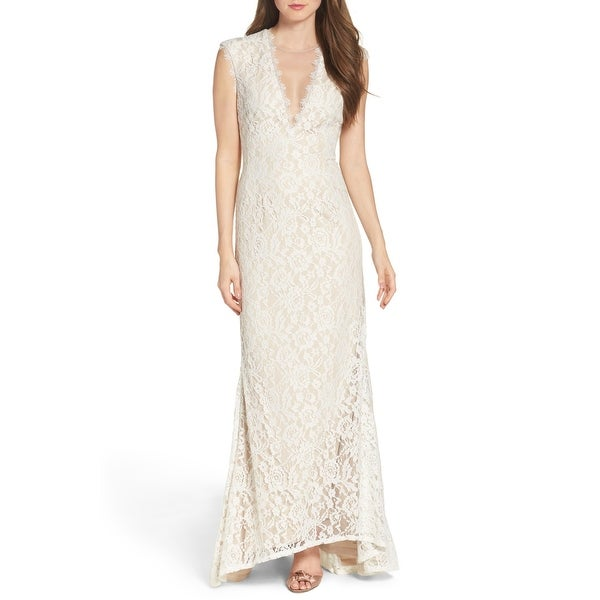 635ec0a0abec9 Aidan Mattox Stretch Lace Gown with Open Back, Ivory/Nude, 6