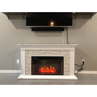 Copper Grove Horse Mountain White Faux Stone Widescreen Electric Fireplace