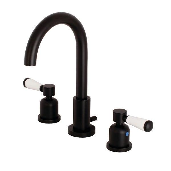 Kingston Brass FSC892.DPL Paris 1.2 GPM Deck Mounted Bathroom Faucet with Lever Handles - Matte Black
