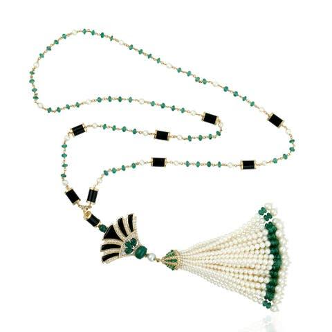 18k Gold Diamond Emerald Onyx Lariat Necklace Tassel Jewelry With Jewelry Box