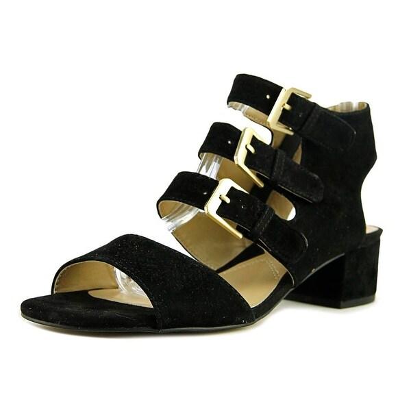 Adrienne Vittadini Laira Women Open Toe Suede Black Sandals