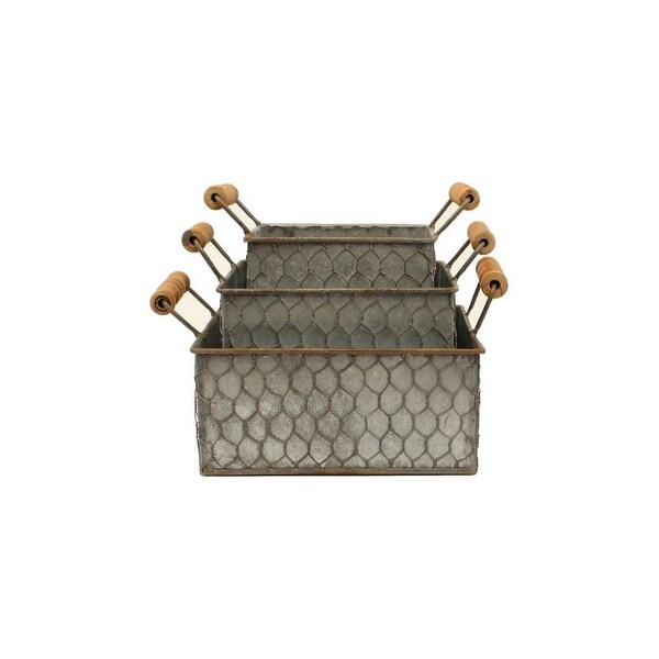 Western Moments Basket Set Galvanized Set of 3 Handles Silver - One Size. Opens flyout.