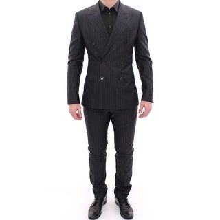 Dolce & Gabbana Black Striped Double Breasted SICILIA Suit