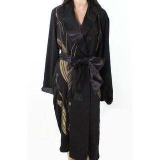 Lauren by Ralph Lauren NEW Black Womens Size M Embroidered Wrap Coat