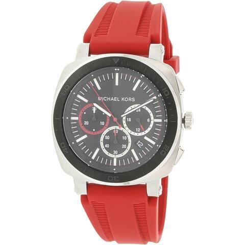 e2afaf5a086c Michael Kors Men s Bax Silver Silicone Japanese Quartz Fashion Watch