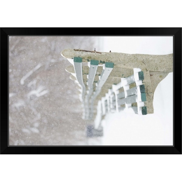 """Snowing on park benches, Boston, Massachusetts"" Black Framed Print"