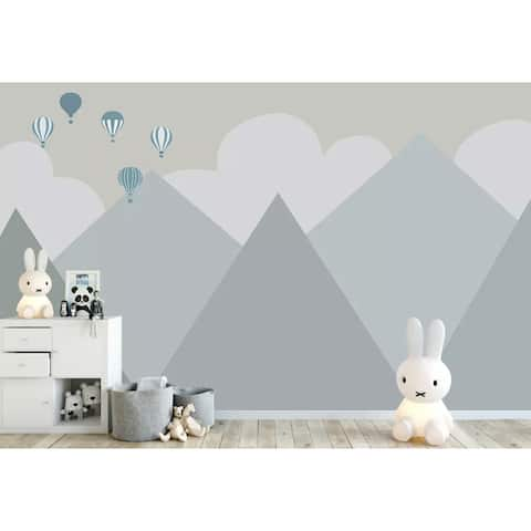 Cartoon Mountain Landscape Soft Hot Air Balloon Textile Wallpaper