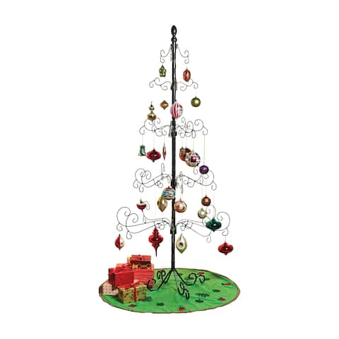"""Wrought Iron Christmas Ornament Display Tree - 83"""" - 35 in. x 83 in."""